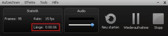 Aufnahme-Symbolleiste in CS 6 mit Zeitanzeige