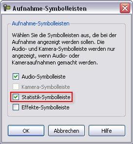 Dialogfeld Aufnahme-Symbolleisten in CS6