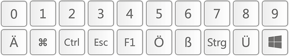 Camtasia-Training - Tastatur-Bibliothek-Beispieltasten