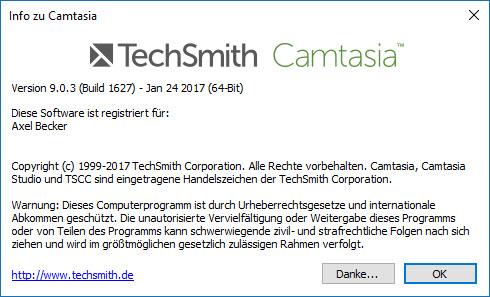 Camtasia 9.0.3 - Infofenster